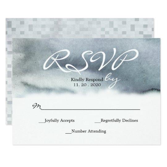 RSVPを結婚する魅力的なブルーグレーの赤面の水彩画 8.9 X 12.7 インビテーションカード