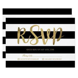 RSVPを結婚する黒い及び白のストライプの金ゴールドホイル 8.9 X 12.7 インビテーションカード
