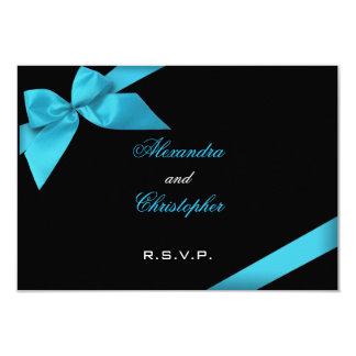 RSVPを結婚するTurquiseのリボン カード