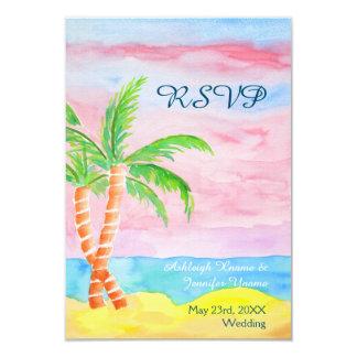 RSVPを絵を描く水彩画のビーチリゾートのヤシの木 カード