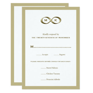 RSVPカリフォルニアを結婚するシャンペンの金ゴールドの無限手の止め金 カード