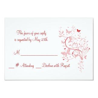 RSVPカードを結婚しているばら色の蝶 カード