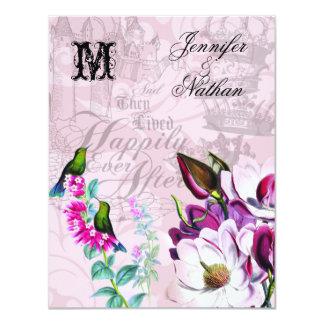 RSVPカードを結婚しているハチドリのマグノリア カード