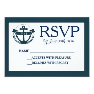 RSVPカードを結婚している海軍航海のないかり カード