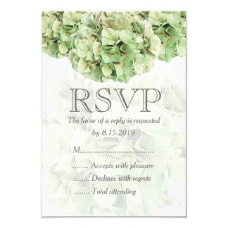 RSVPカードを結婚している緑のアジサイ カード