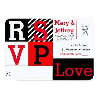 RSVPカードを結婚するシンプルで赤く、ストライプのな写真 カード
