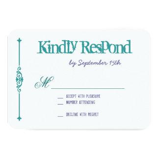 RSVPカードを結婚するターコイズの紫色のタイポグラフィ 8.9 X 12.7 インビテーションカード