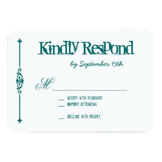 RSVPカードを結婚するティール(緑がかった色)のターコイズの水のタイポグラフィ 8.9 X 12.7 インビテーションカード