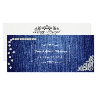 RSVPカードを結婚するデニム、真珠及びレース カード