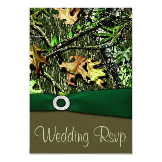 RSVPカードを結婚するハンター緑の狩りの迷彩柄 8.9 X 12.7 インビテーションカード