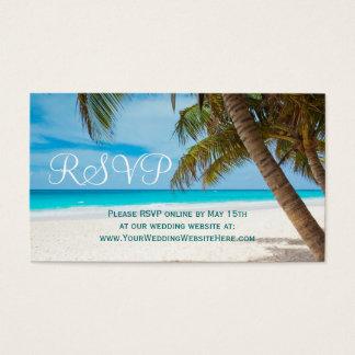RSVPカードを結婚するヤシの木のビーチの行先 名刺