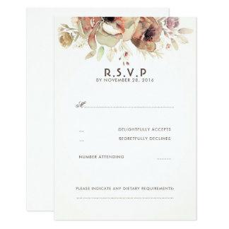 RSVPカードを結婚するヴィンテージの花の水彩画 カード