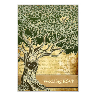 RSVPカードを結婚する国のオークの木のヴィンテージ カード