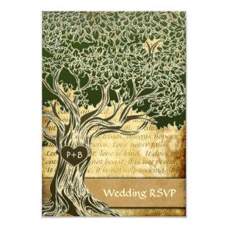 RSVPカードを結婚する国のオークの木のヴィンテージ 8.9 X 12.7 インビテーションカード