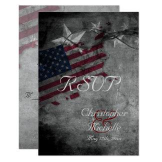RSVPカードを結婚する星が付いている愛国心が強い米国の旗 カード