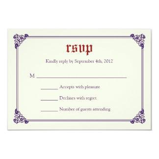 RSVPカードを結婚する物語の本のおとぎ話-赤か紫色 カード