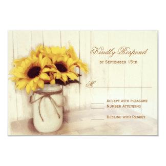 RSVPカードを結婚する素朴なヒマワリのメーソンジャー カード