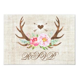 RSVPカードを結婚する素朴な国の花の(雄ジカの)枝角 カード