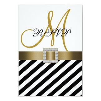 RSVPカードを結婚する金ゴールドの黒のストライプのリボン カード