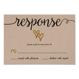 RSVPカードを結婚する金ゴールドホイルのハートのクラフト紙 カード