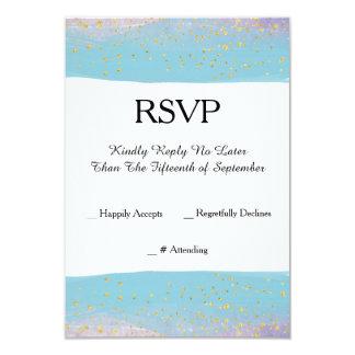 RSVPカードを結婚する青、紫色及び金ゴールドの水彩画 カード
