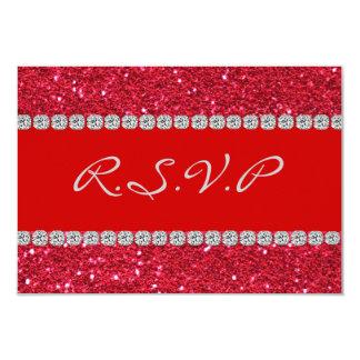 """RSVPカード赤い水晶きらきら光るな3.5"""" x 5"""" RSVP カード"""