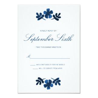 RSVPカード-濃紺--を結婚するメキシコ人Otomi カード