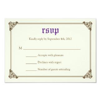 RSVPカード-紫色--を結婚する物語の本のおとぎ話 カード