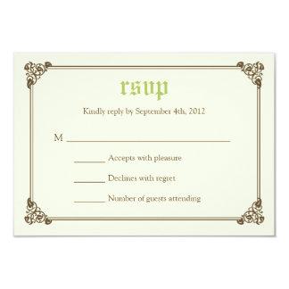 RSVPカード-緑--を結婚する物語の本のおとぎ話 カード