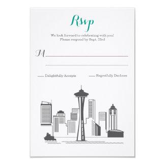 RSVPシアトルのスカイラインの結婚式 カード