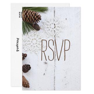 RSVP冬Pineconeおよび雪片の結婚 カード