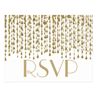 RSVP |の金ゴールドの紙吹雪の流れ ポストカード
