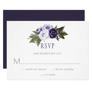 RSVP |を結婚している暗い紫色およびすみれ色のシャクヤク カード