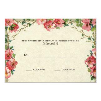 RSVP、花柄の花のピンクのバラを結婚するヴィンテージ カード