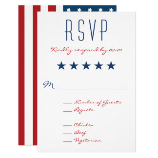RSVP 2を結婚する米国の愛国心が強い旗 カード