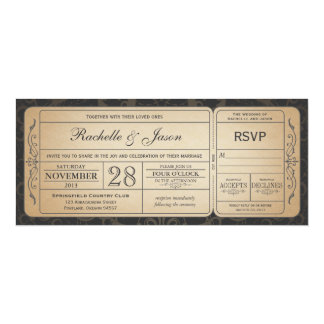 RSVP 3.0のチケットの招待状を結婚するヴィンテージ カード