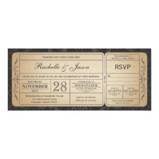 RSVP 3.0のチケットの招待状を結婚するヴィンテージ 10.2 X 23.5 インビテーションカード