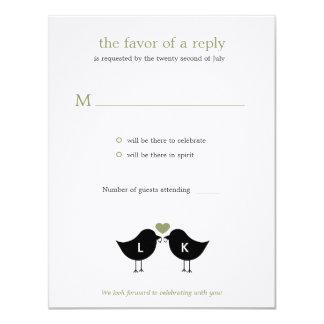 RSVP/Responseカード-賢人--を結婚しているモノグラムの鳥 カード