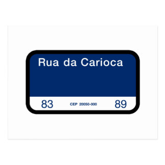 Rua da Carioca、リオデジャネイロの道路標識 ポストカード