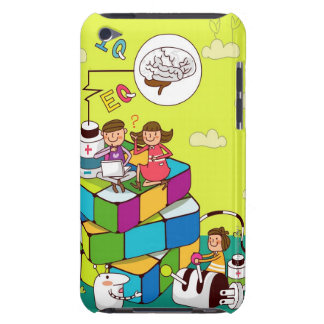Rubikの立方体のパズルに坐っている女の子を持つ男の子 Case-Mate iPod Touch ケース