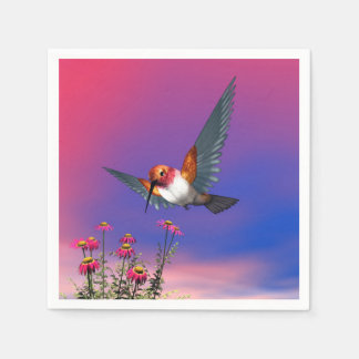 Rufousハチドリ- 3Dは描写します スタンダードカクテルナプキン