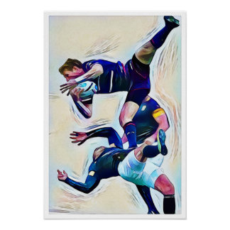 Rugby Ballet Watercolour Print ポスター