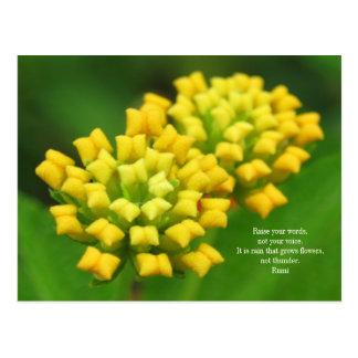 Rumiの引用文の郵便はがきが付いている黄色い花 ポストカード