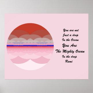 Rumiの引用文ポスター芸術。 海の曼荼羅のインスピレーション プリント