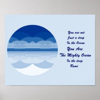 Rumiの引用文ポスター芸術。 海の曼荼羅のインスピレーション ポスター
