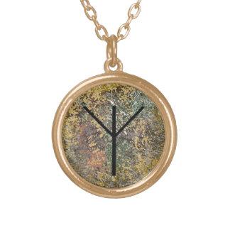 Runeのネックレス-金のAlgiz -保護 ゴールドプレートネックレス