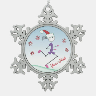 Runner名前入りなクリスマスの休日の©の女性 ピューター製スノーフレークオーナメント