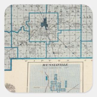 Russiavilleのハワード郡の地図 スクエアシール