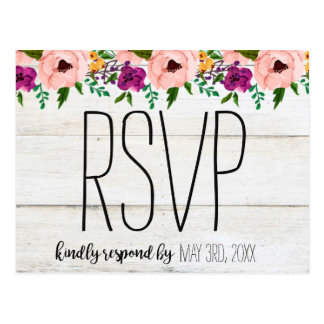 Rustic Adorned with Floral | RSVP Postcard ポストカード