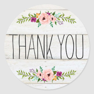 Rustic Adorned with Floral | Thank You Sticker ラウンドシール